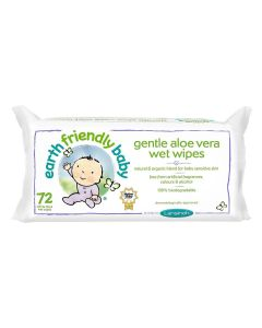 Earth Friendly Baby Gentle Aloe Vera Wet Wipes, Pack of 72