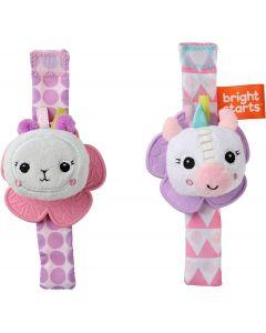 Bright Starts Rattle & Teethe Wrist Pals - Unicorn & Llama