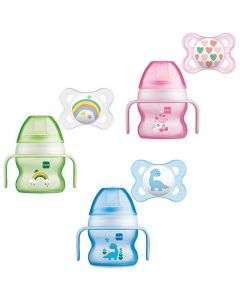 MAM Starter Cup with Handles and Soother, 150ml, Various Colours, Pack of 1