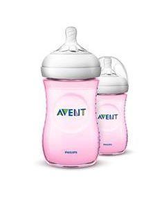 Phillips Avent Natural Bottle Pink 260ml 2PK
