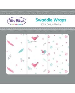 Silly Billyz Muslin Swaddle Wrap, Orchid Birds, Pack of 3