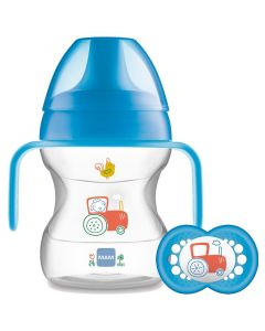 MAM Learn to Drink Cup with Handles and Soother, 190ml, Blue