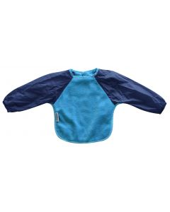 Silly Billyz Fleece Long Sleeve Bib, Small, Aqua/Navy, 6 Months – 2 Years