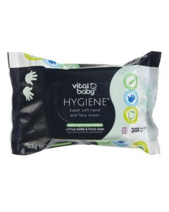 Vital Baby Hygiene Super Soft Hand & Face Wipes, Pack of 30 x 4 (Total - 120 Wipes)
