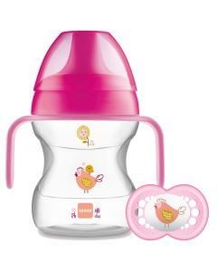 MAM Learn to Drink Cup with Handles and Soother, 190ml, Pink