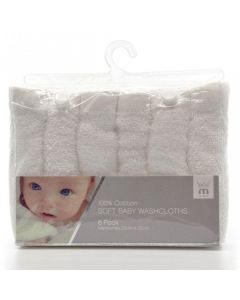 Meridiana 100% Cotton Baby Washcloths, White, Pack of 6