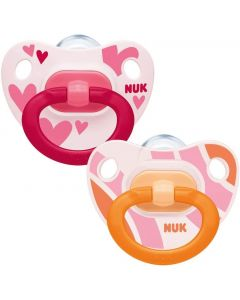 Happy Days Silicone Soothers, Size 2 (6-18m), Pink, Pack of 2